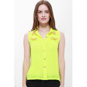 Stylish Stud Embellished Color Match Women's Chiffon Blouse