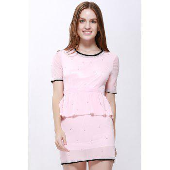 ladylike faux twinset flounce edge short sleeves women's dress