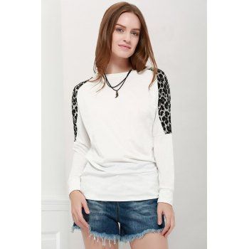 Morden Style Loose-Fitting Leopard Splicing Long Sleeves Women's Long T-Shirts - WHITE WHITE