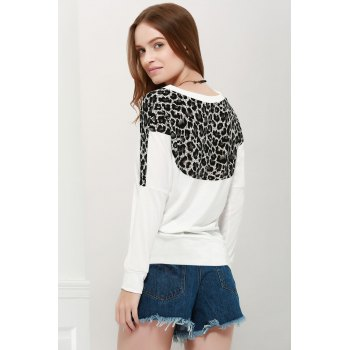 Morden Style Loose-Fitting Leopard Splicing Long Sleeves Women's Long T-Shirts - ONE SIZE ONE SIZE