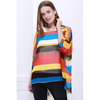 Trendsetter Women's Summer Blouse With Colorful Stripe Print Asymmetric Batwing Sleeve Design - L L