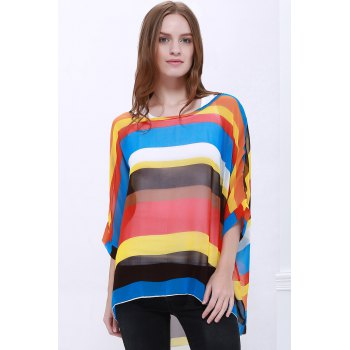 Trendsetter Women's Summer Blouse With Colorful Stripe Print Asymmetric Batwing Sleeve Design - AS THE PICTURE AS THE PICTURE