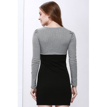 Cotton Long Sleeve Two Tone Sheath Dress - M M
