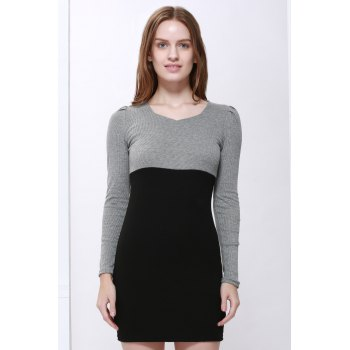 Cotton Long Sleeve Two Tone Sheath Dress - BLACK M