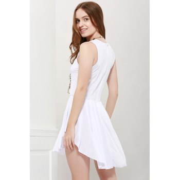 Women's Fashionable Solid Color Scoop Neck Asymmetric Pleated Sleeveless Dress - WHITE M