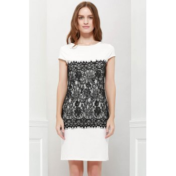 Stylish Round Collar Short Sleeve Bodycon Lace Spliced Women's Dress