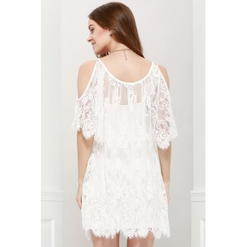 Ladylike Women's Scoop Neck Off-The-Shoulder Lace See-Through Dress - WHITE L