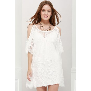 Ladylike Women's Scoop Neck Off-The-Shoulder Lace See-Through Dress