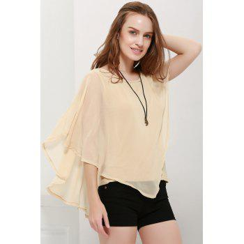 Chiffon Fashionable Style Solid Color Flounce Edge Scoop Neck Women's Blouse - S S