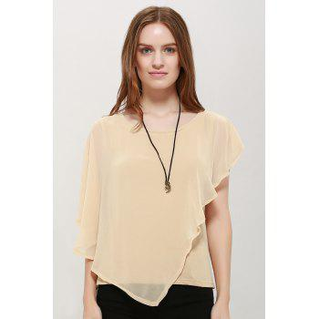 Chiffon Fashionable Style Solid Color Flounce Edge Scoop Neck Women's Blouse - APRICOT S