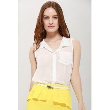 Women's Chiffon Solid Color Pocket Ladylike Blouse - WHITE ONE SIZE