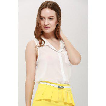 Women's Chiffon Solid Color Pocket Ladylike Blouse - ONE SIZE ONE SIZE