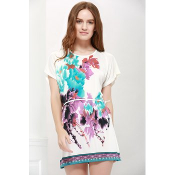 Bat-Wing Sleeve Floral Print Lace-Up Gorgeous Scoop Neck Women 's Blouse