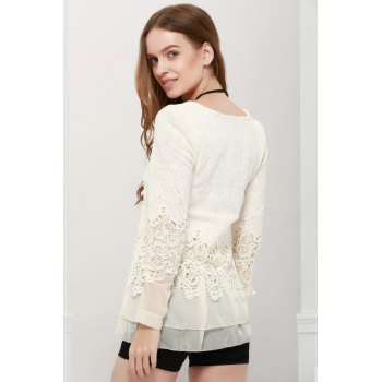 Long Sleeves Lace Panel Top - OFF WHITE OFF WHITE