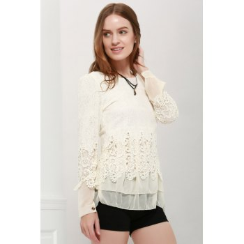 Long Sleeves Lace Panel Top - OFF WHITE M
