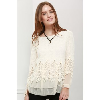 Long Sleeves Lace Panel Top - OFF-WHITE L