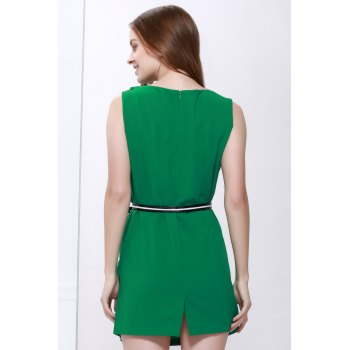 Slimming Cowl Neck Sleeveless Belt Design Solid Color Packet Buttock Dress - GREEN M