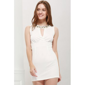 Sexy Bead Embellished Solid Color Party Dress For Women - WHITE ONE SIZE