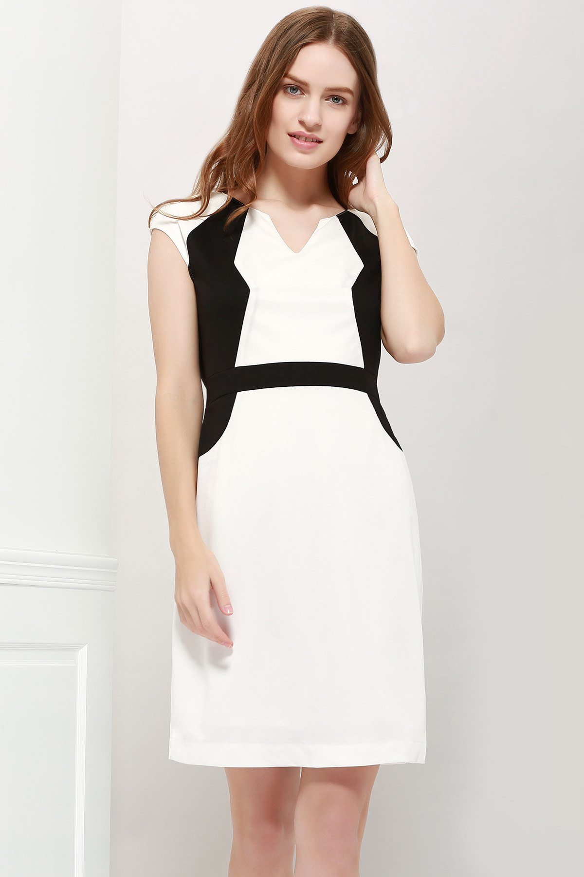 Modern Style Sleeveless Polyester Color Block V-Neck Women's Dress - AS THE PICTURE L