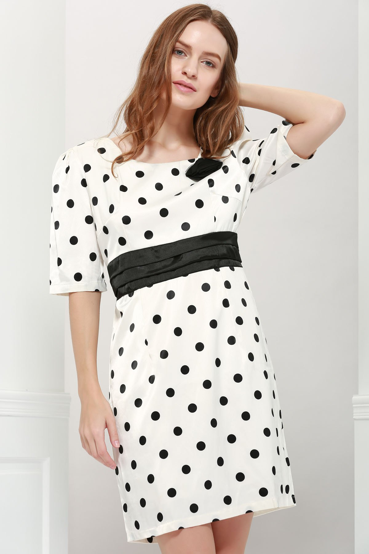 Lady Style Elegant Large Polka Dot Embellished Short Sleeves Dress For Women от Dresslily.com INT