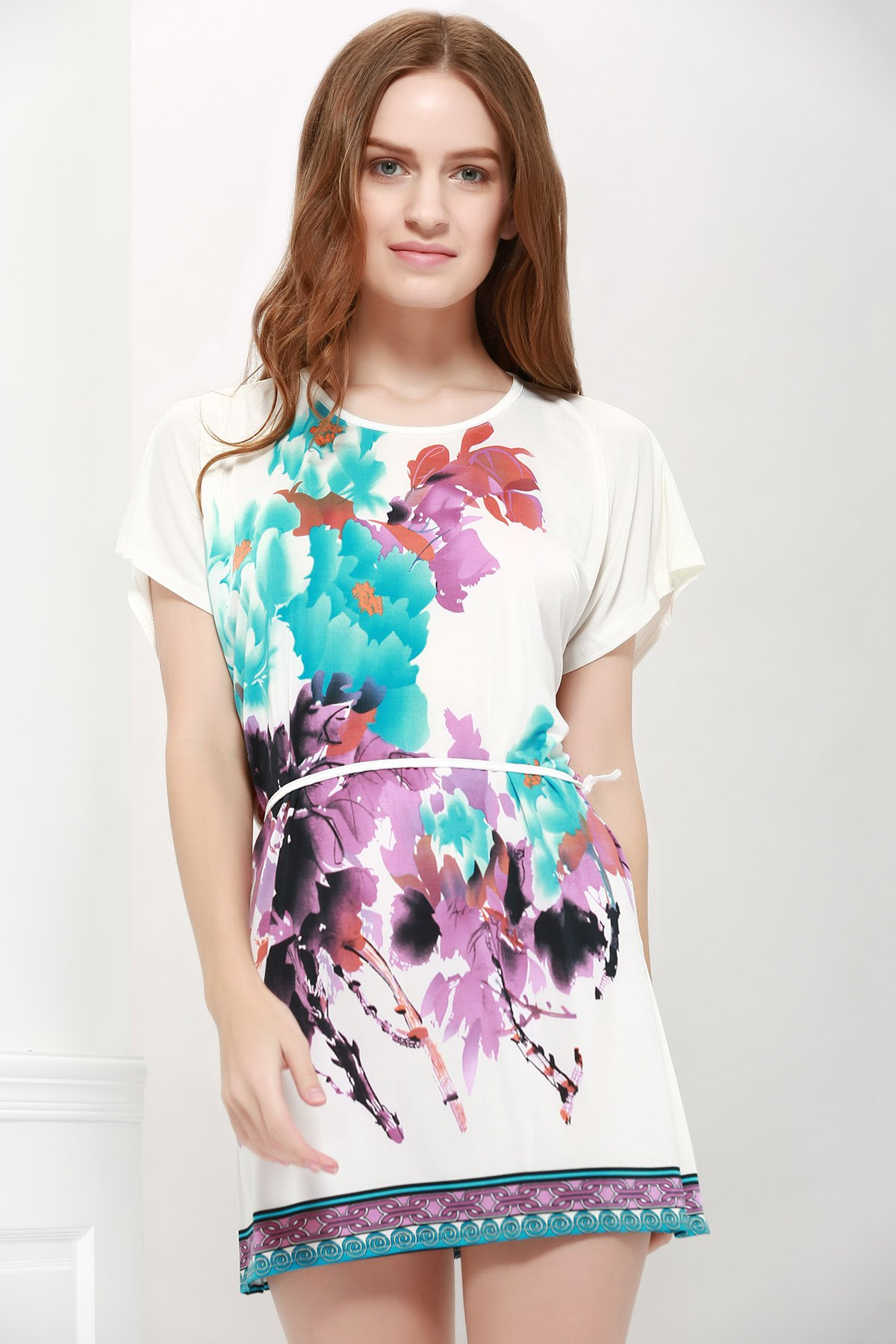 Bat-Wing Sleeve Floral Print Lace-Up Gorgeous Scoop Neck Women 's Blouse семена огурец мурашка f1 10 шт