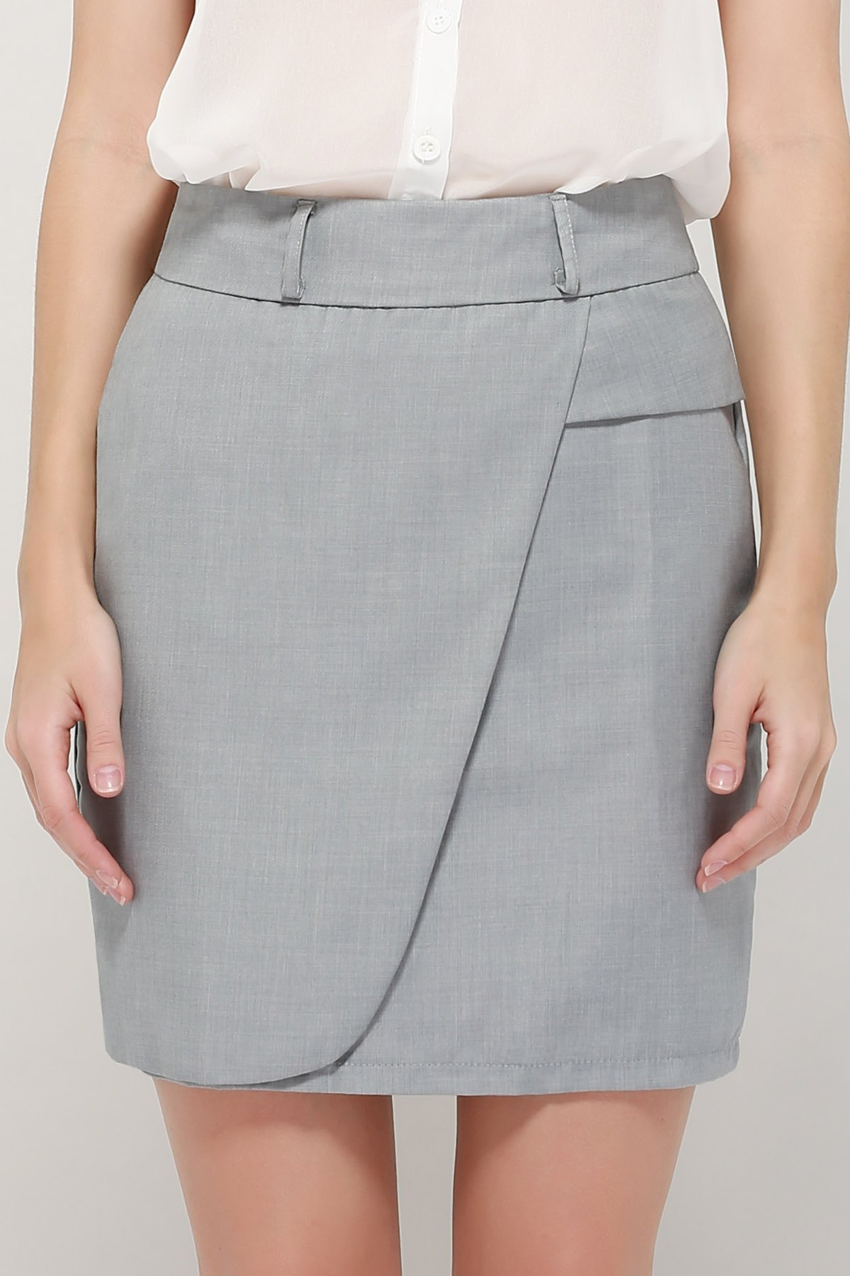 Graceful OL Style Womens Pencil Skirt(With Belt)Women<br><br><br>Size: L<br>Color: GRAY