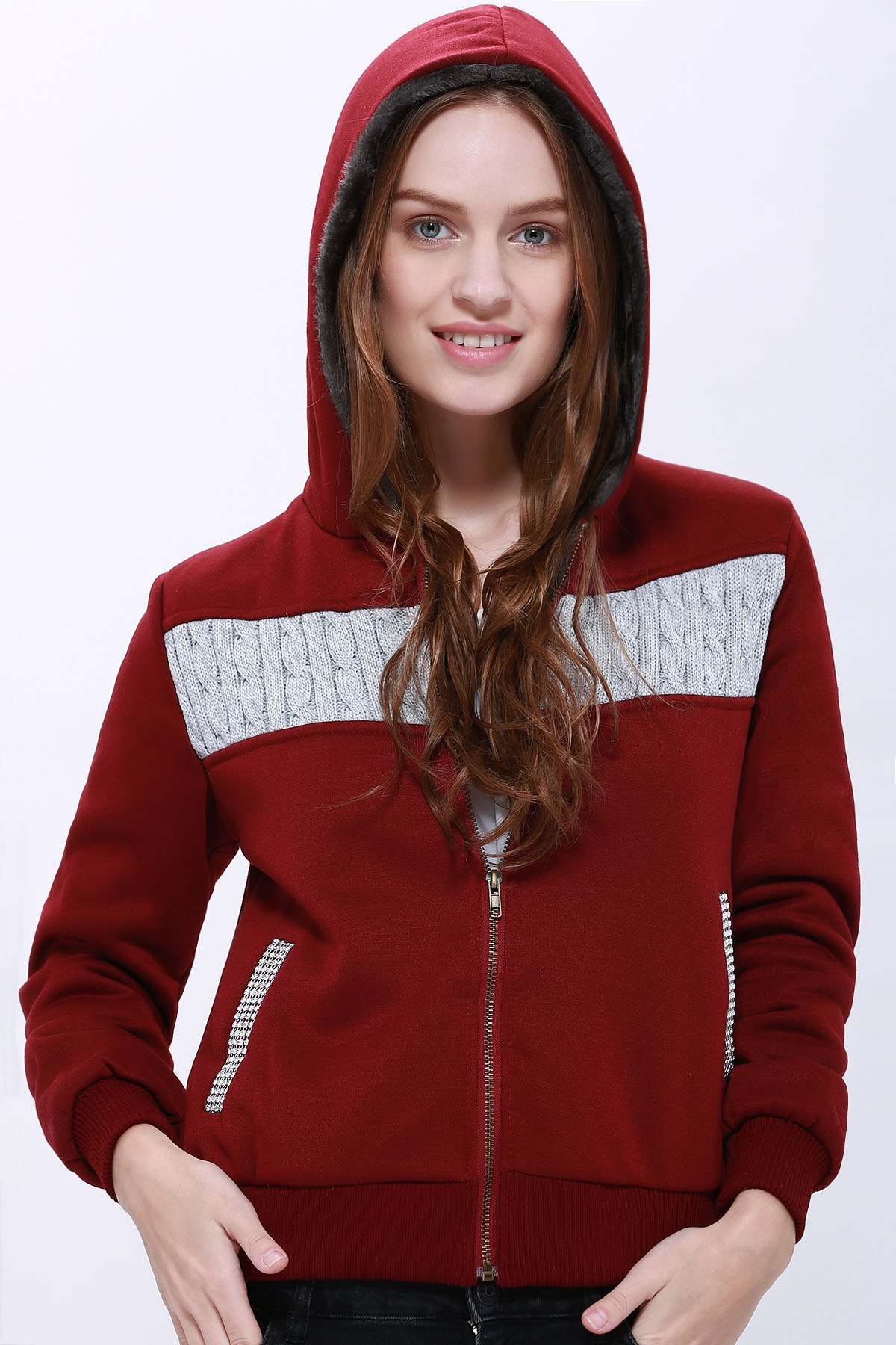 Fashionable Long Sleeve Zippered Hoodie For Women - PURPLISH RED L