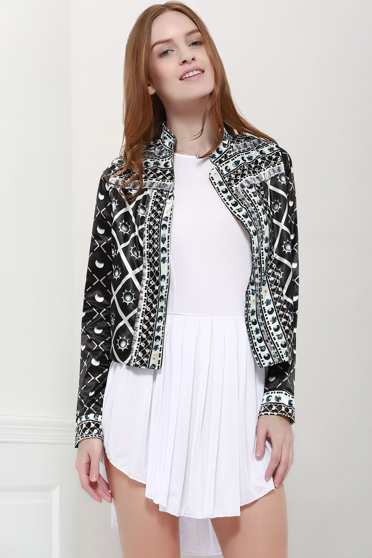 Fashionable Women's Stand Collar Long Sleeves Printed Jacket - BLACK M