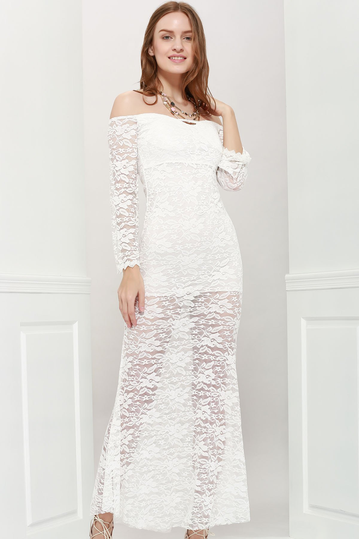 Sexy Style Off The Shoulder Long Sleeves Lace Women's Maxi-Dress - WHITE ONE SIZE