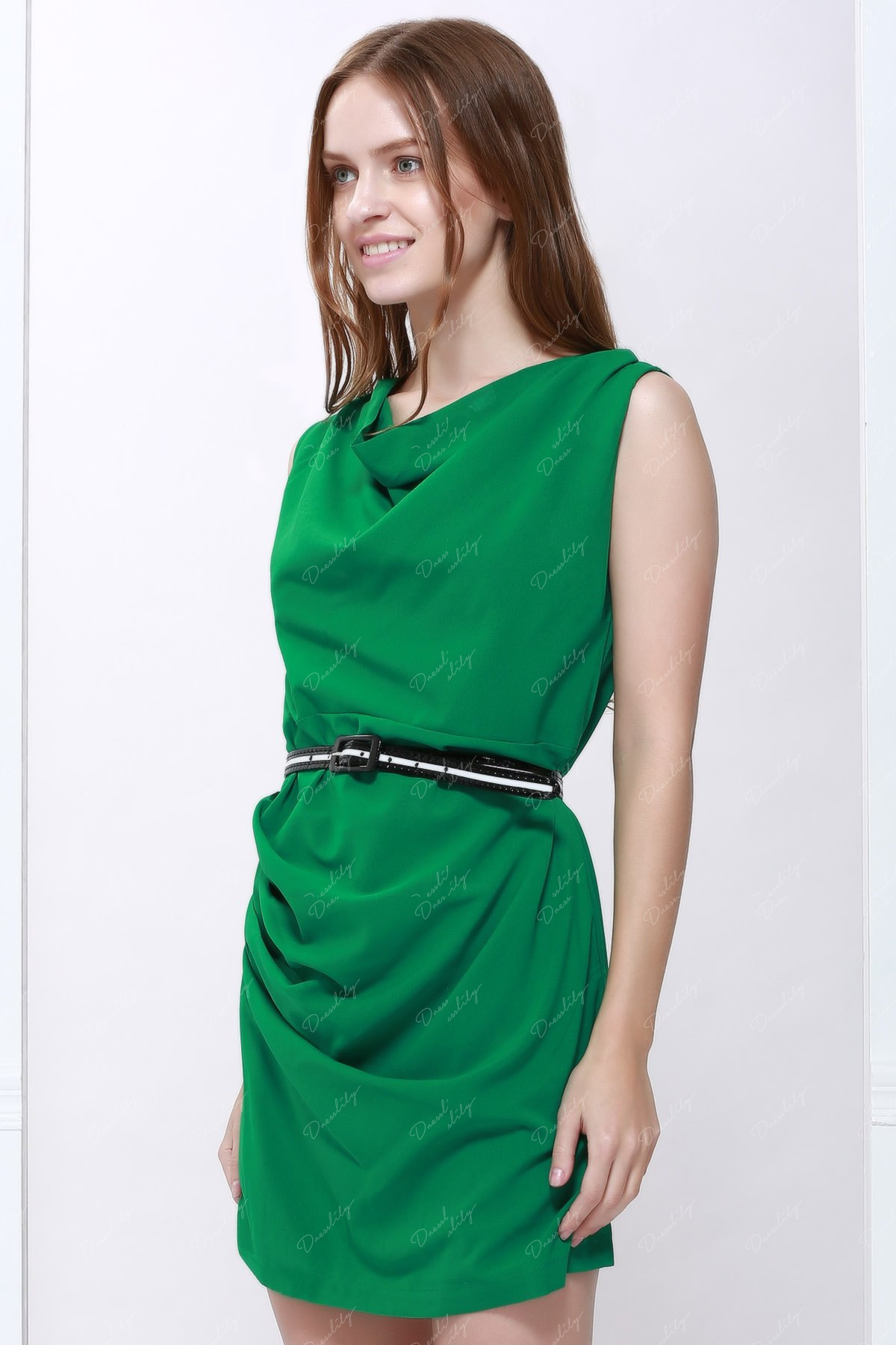 Slimming Cowl Neck Sleeveless Belt Design Solid Color Packet Buttock Dress - GREEN S