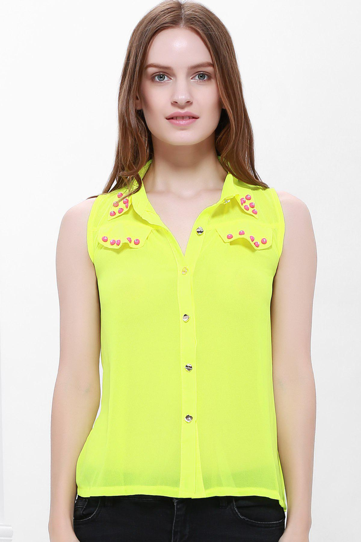 Stylish Stud Embellished Color Match Women's Chiffon Blouse - FLUORESCENT YELLOW S