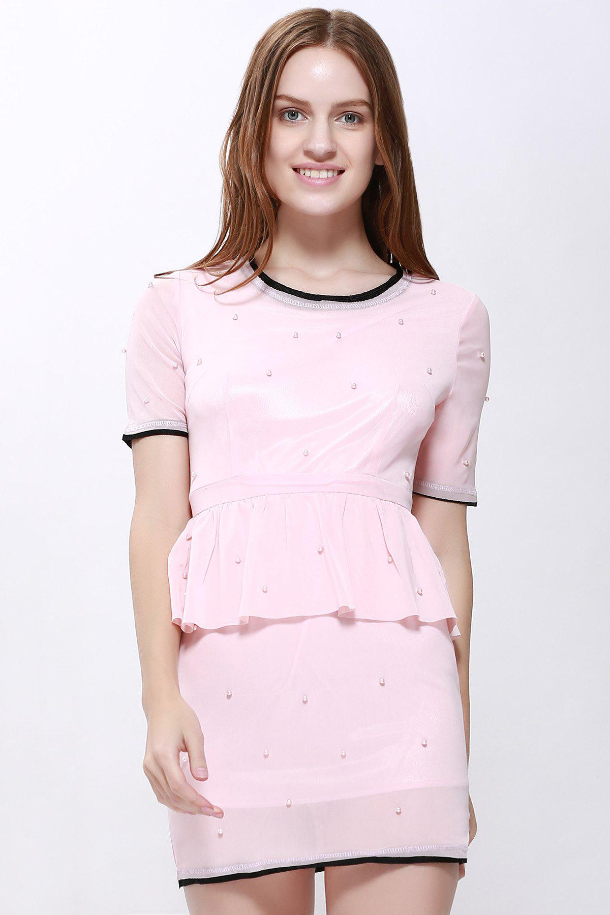 Ladylike Faux Twinset Flounce Edge Short Sleeves Women's Dress - PINK L