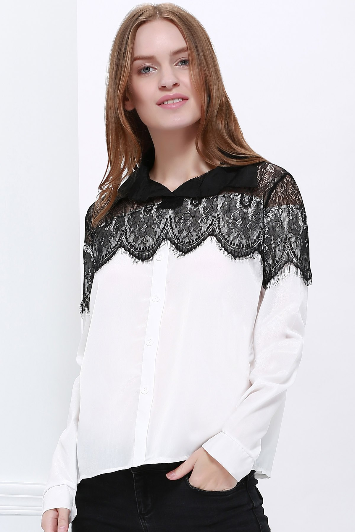 New long sleeve Black Lace Chiffon Shirt Blouse - AS THE PICTURE ONE SIZE