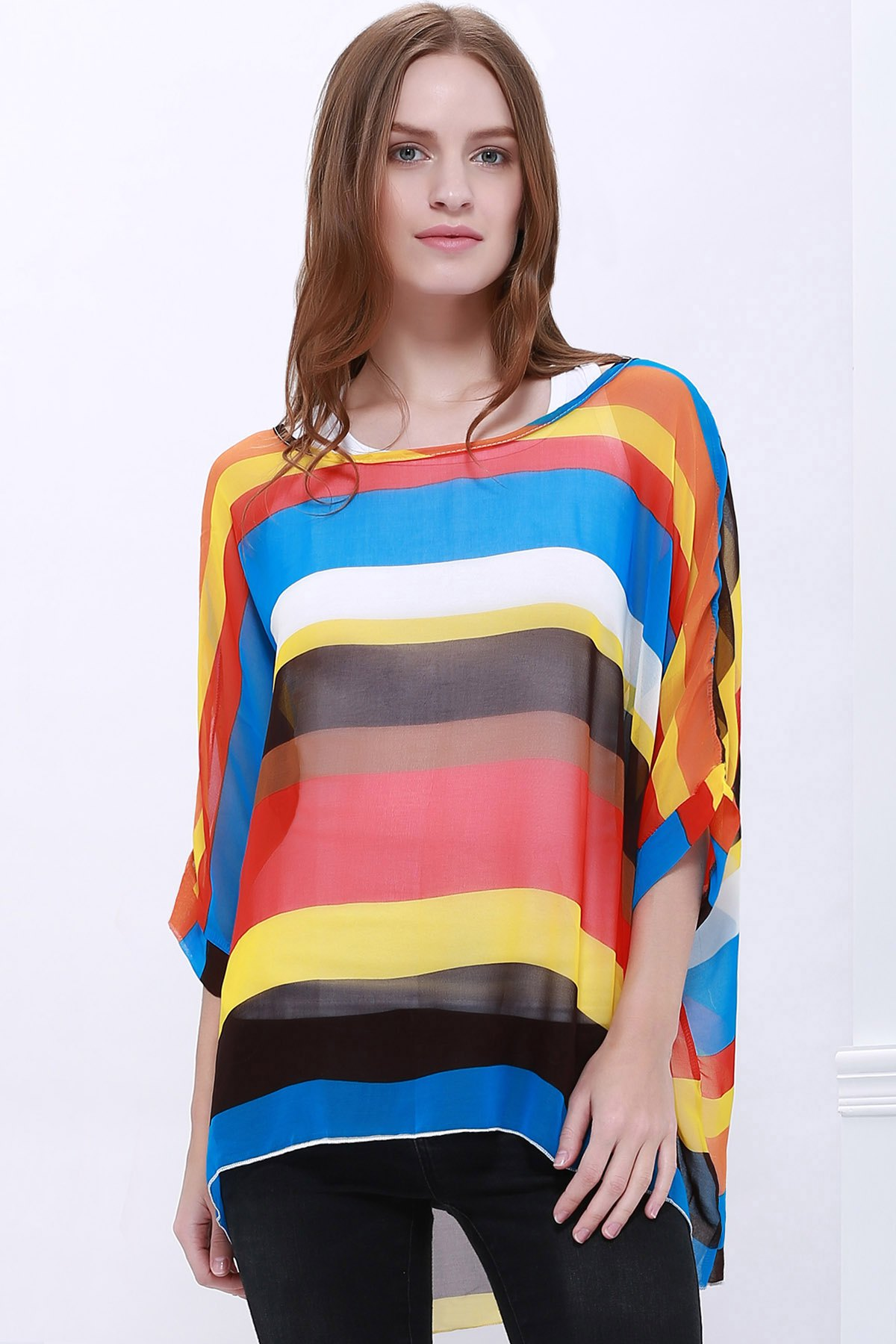 Trendsetter Women's Summer Blouse With Colorful Stripe Print Asymmetric Batwing Sleeve Design
