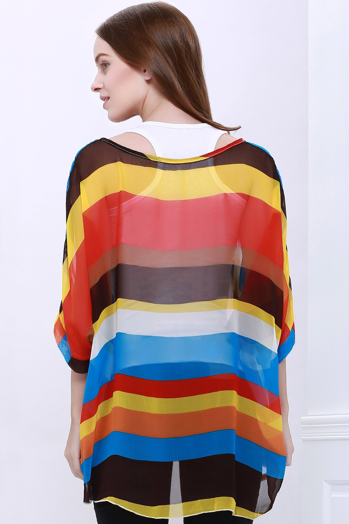 Trendsetter Women's Summer Blouse With Colorful Stripe Print Asymmetric Batwing Sleeve Design - AS THE PICTURE L