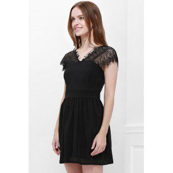 Sexy Style Cape Sleeve V-Neck Lace Splicing Nipped Waist Wide Hem Backless Dress - S S