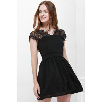 Sexy Style Cape Sleeve V-Neck Lace Splicing Nipped Waist Wide Hem Backless Dress - BLACK L