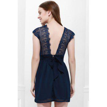 Sexy Style Cape Sleeve V-Neck Lace Splicing Nipped Waist Wide Hem Backless Dress - M M