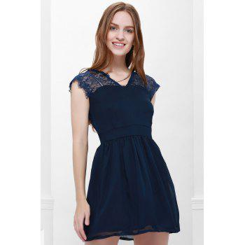 Sexy Style Cape Sleeve V-Neck Lace Splicing Nipped Waist Wide Hem Backless Dress - BLUE L