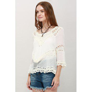 V Neck Asymmetric Tunic Top - WHITE ONE SIZE(FIT SIZE XS TO M)