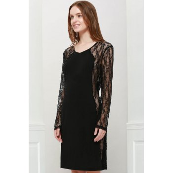 Stylish V-Neck Bodycon Floral Pattern Lace Splicing Long Sleeves Women's Club Dress - BLACK ONE SIZE