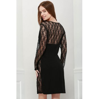 Stylish V-Neck Bodycon Floral Pattern Lace Splicing Long Sleeves Women's Club Dress - ONE SIZE ONE SIZE