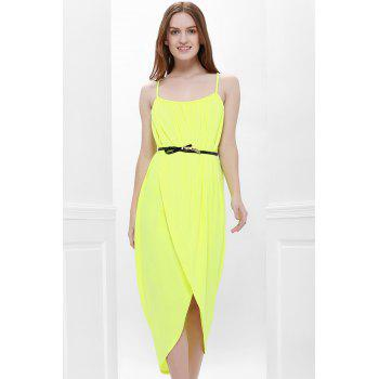 Sexy Spaghetti Strap Sleeveless Furcal Solid Color Women's Dress