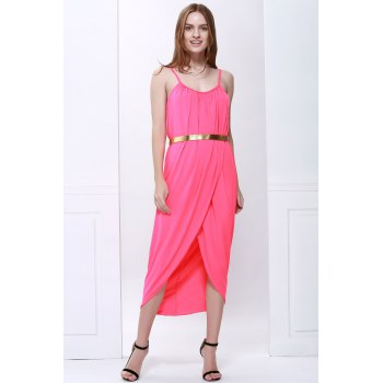 Sexy Spaghetti Strap Sleeveless Furcal Solid Color Women's Dress - RED S