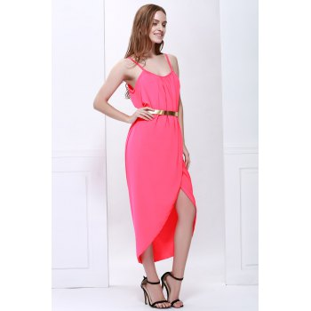 Sexy Spaghetti Strap Sleeveless Furcal Solid Color Women's Dress - RED M
