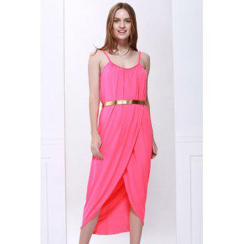 Spaghetti Strap Sleeveless Solid Color Furcal Dress