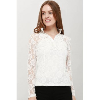 Elegant High Neck Ruffle Hem Solid Color Long Sleeve Slimming Lace Blouse With Camisole