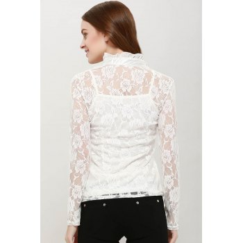 Elegant High Neck Ruffle Hem Solid Color Long Sleeve Slimming Lace Women's Blouse With Camisole - M M