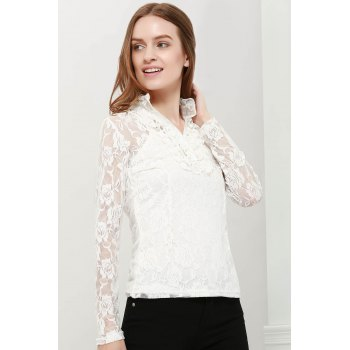 Elegant High Neck Ruffle Hem Solid Color Long Sleeve Slimming Lace Women's Blouse With Camisole - WHITE M