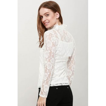 Elegant High Neck Ruffle Hem Solid Color Long Sleeve Slimming Lace Women's Blouse With Camisole - WHITE WHITE